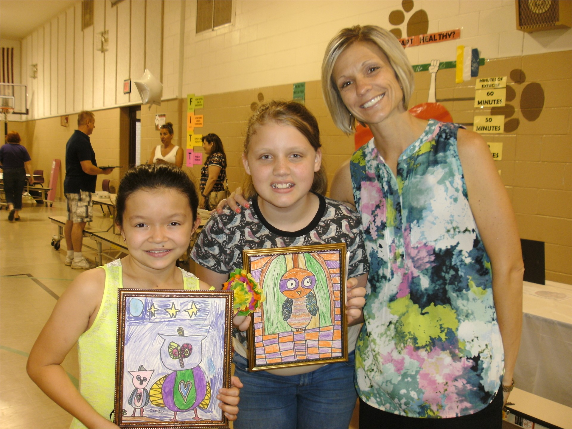 Mrs. Knowlton with a few of Stevenson's proud artists
