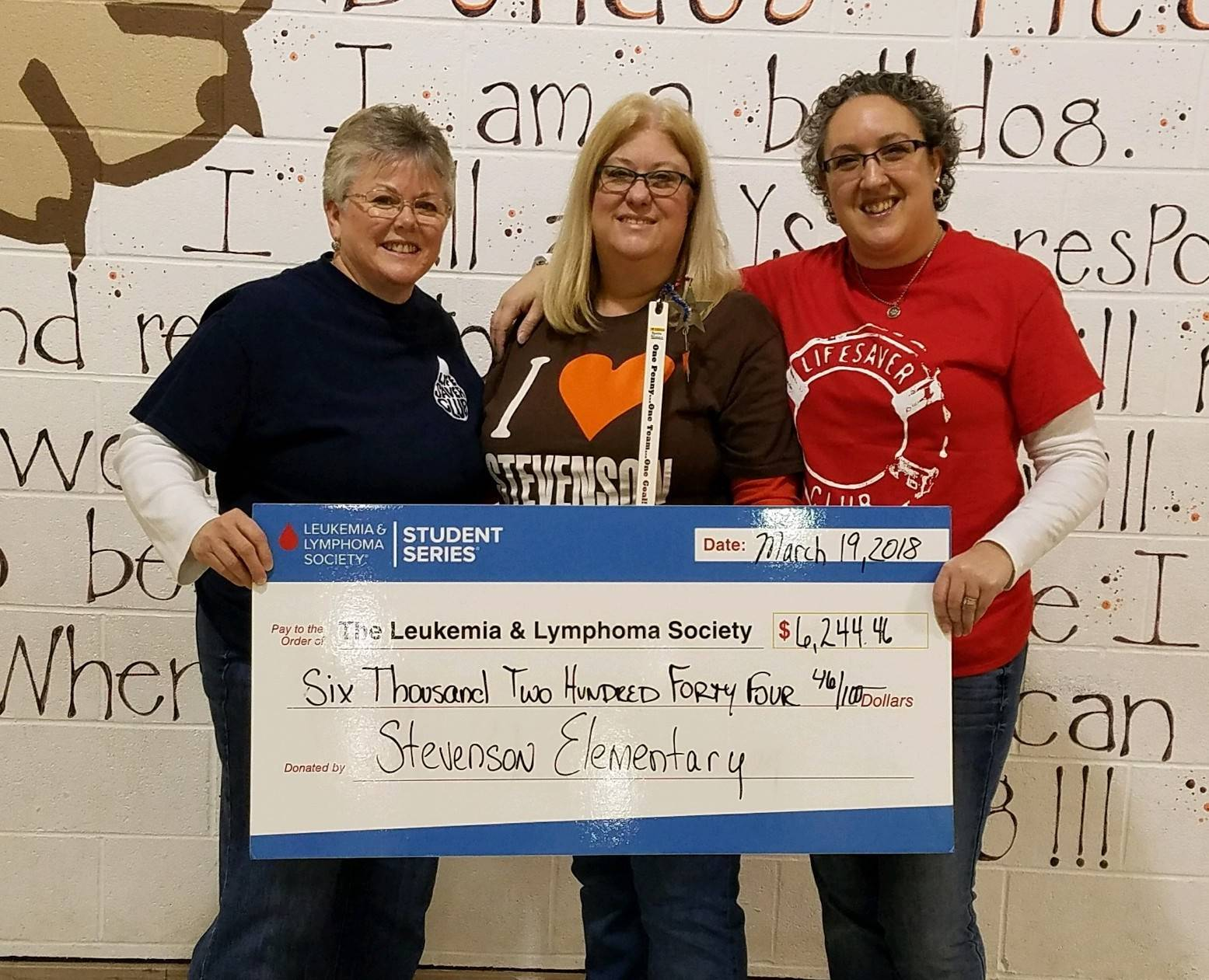 Mrs. Villinger, Mrs. Ridgley and Mrs. Montgomery with check