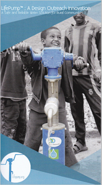 LifePump Ad with Haitian child operating water pump